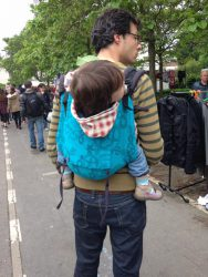 Koala and Mama Malta Babywearing Consultancy Babywearing dad with toddler in an Onbu