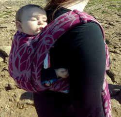 Koala and Mama Malta Babywearing Consultancy Tiny baby back carry in a Solnce Meh Dai