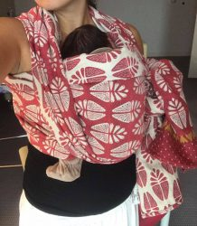 Koala and Mama Malta Babywearing Consultancy Newborn front carry in a Leora woven wrap