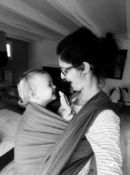 Koala and Mama Malta Babywearing Consultancy sharing laughters in a handwoven wrap